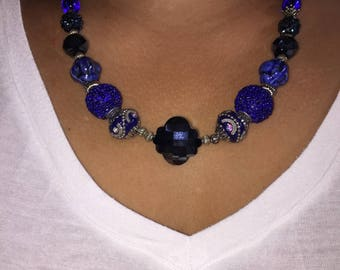 Royal Blue Glass and Acrylic Beaded Necklace and Earrings