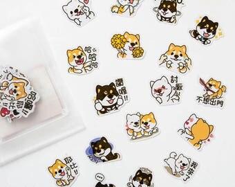 Cute Corgi Dog Sticker Flakes, Scrapbooking, Planning, Deciration Stickers
