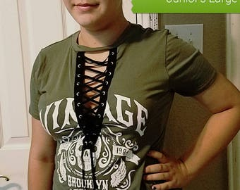 Olive Lace Up Skull Top in Large, Medium and Small