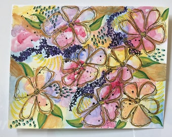 Inky flowers in mixed media