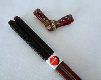 VJ988 :Chopsticks+Chopstick Rest(Free gift),Japanese Wajima-nuri Urushi Lacquer wood chopsticks coated in silk thread,Handcrafted in Japan
