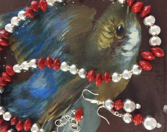 Sterling Silver Ball Necklace with Red Seed Pods