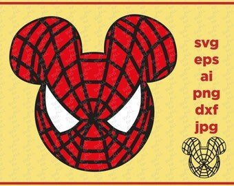Spiderman Mickey Head, Spiderman SVG dxf pdf Studio, Disney SVG dxf pdf Studio, Mickey Head SVG dxf pdf Studio, Marvel Mickey Head, Marvel