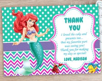 ON SALE 30%LIttle Mermaid Thank You Card - Ariel Thank You Card - Little Mermaid Birthday Party Printables