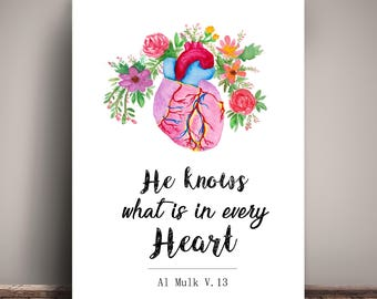 Islamic Heart Watercolor Illustration Quotes Print, Heart Print , Islamic Decor, Instant Download