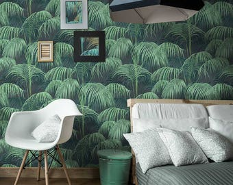 Papier Peint Tropical fait main - Jungle Wall Paper 10m X 0,5m - Rouleau intissé Rolls Non-woven. Made in France