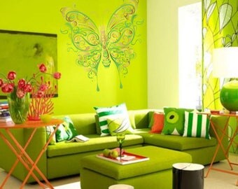Full color Butterfly sticker, Butterfly Decal, wall art decal gc042