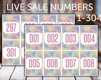 FB Live Sales, Normal Tags, 001-304, numbers, number tags, Normal Numbers, Number Tags, Printable, Instant Download