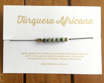Collar-pulsera of the friendship of African turquoise card