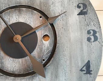 Oversized Wall Clock, Rustic Clock, Farmhouse Clock, Large Clock,