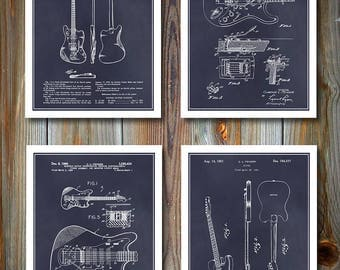 Fender Patent Set Of Four Guitar Prints, Fender Telecaster, Stratocaster, Electric Guitar, Music Gift, Guitar Player Gift, Musical Décor
