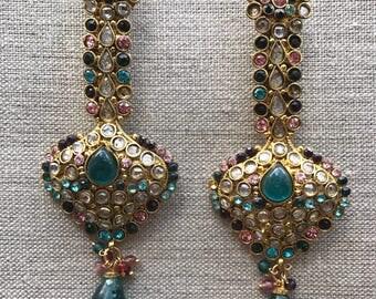 Long multicolored earrings