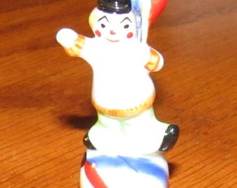 Vintage (New Old Stock)  Miniature Bug House Clown Figurine on Ball, Holding Balloons