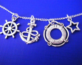 "Antiqued silver charms with 18"" silver plated chain necklace Naudical Anchors"