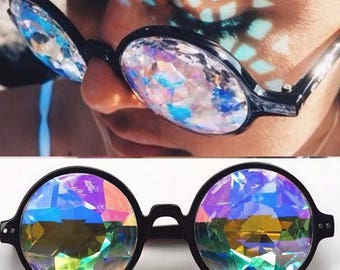 Black Kaleidoscope Glasses, Rave Sunglasses, Black Rave Glasses, Prism Glasses, Diffraction Glasses, Rave Goggles, Sunglasses Women, Round S