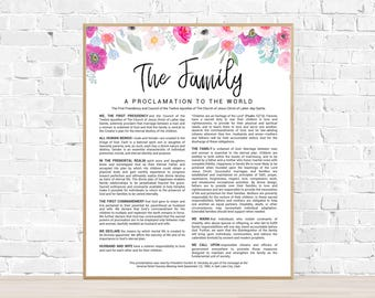 LDS Family Proclamation Printable - Watercolor Floral Family Proclamation - The Family Proclamation to the World Digital Download - LDS Art
