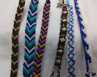 Cotton Floss Surfer Friendship Bracelets Anklets - Paw Print Design, Ocean Waves, Chevron, Sine Wave, Spiral - Hand Woven