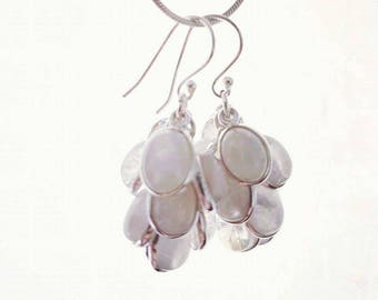Moonstone Earrings and Pendant Cluster Set