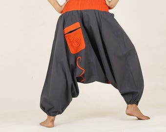 Hippie Harem pants Spiral yoga pant trouser pocket grey pyjamas