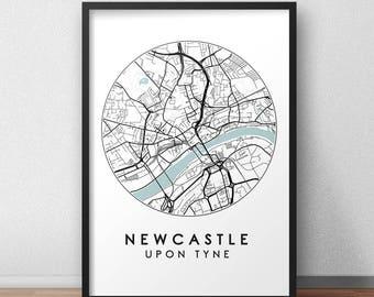 Newcastle City Print, Street Map Art, Newcastle Map Poster, Newcastle Map Print, City Map Wall Art, Newcastle Map, Travel Poster, England