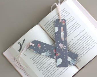 Cute Animal Paper Bookmark, Grey Squid Pattern with Long Pastel Pink Velvet Ribbon