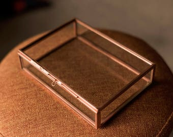 "4x6"" Red Brass & Glass Photo Print Box"