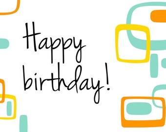 Happy Birthday, fifties happy birthday card, greeting card, printable card, fifties card, printable, instant download
