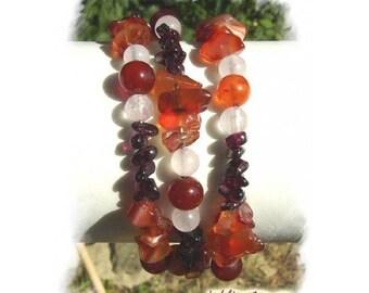 Amethyst, rock crystal and Rhodonite bracelet