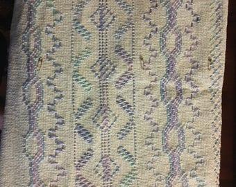 Blue and purple swedish weave throw