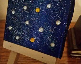 Small galaxy canvas on stand