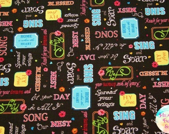 Quilting Treasures Blessed Inspirational Words Black Cotton Fabric 24904-J
