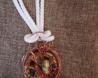 Ceramic, copper wire and beads necklace