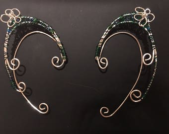 Blue, green, and silver elf ear cuff