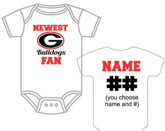 Newest Georgia Bulldogs UGA Fan Custom Made and Personalized Football Gerber Onesie You Choose Name  Number - Great New Baby Shower Gift