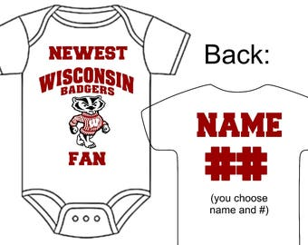 Wisconsin baby etsy newest wisconsin badgers fan custom made personalized football gerber onesie jersey you choose name number negle Image collections