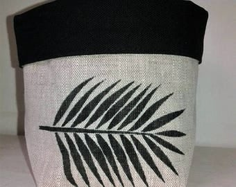 Palm leaf fabric storage basket