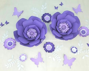 Paper flowers wall decor. Large purple paper flowers wall. Nursery purple flowers. Wedding purple backdrop. Baby shower purple backdrop.
