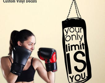 Punching Bag Decal, Fight Decal, Boxing Decal, Gym Decal, Fight Punch Bag Boxing Gym Motivation Quote Wall Vinyl Decals Stickers, Art Décor