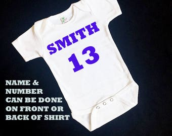 Add a name and number to any shirt - personalize a shirt with a name and number - you pick the name, number and color