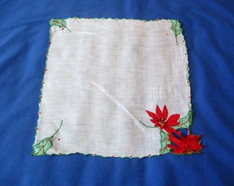 Vintage White Christmas Hanky Handkerchief w Appliqued Poinsettia