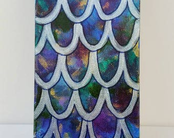 Scales 1: colorful acrylic fish mermaid painting abstract jewel tone silver magic joy charity