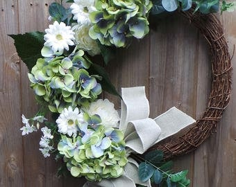 Grace: Beautiful Floral Door Decoration on a Natural Grapevine Wreath-Easily Personalised add your house name, number, ribbons, or birdhouse