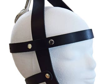 Terginum Leather Head Harness  Restraint Cuff Shackle Head Fixation incl. Carabiner hook