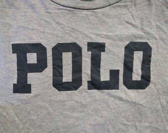 Sale Rare Vintage 90s Polo Ralph Lauren Big Logo Spellout Grey Color T Shirt