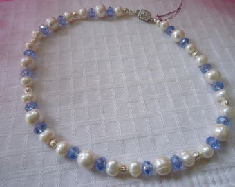 Pearl and Blue Crystal Necklace