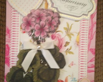 Happy Anniversay Card/Handmade/3D/Floral/Pink Vintage Background With Delicate Roses/Pink Flower Die Cut/Two Hearts/Sentiment
