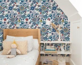 Boho Wallpaper, Boho Wall Mural, Boho Style, Peel and Stick Wallpaper, Removable Wallpaper, Wall Paper Removable, Tropical Wallpaper - A272