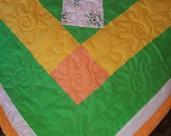 Green, Orange, & Yellow Square Quilt