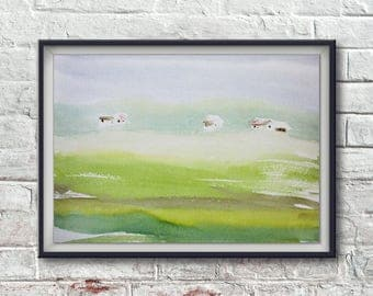 Watercolor painting of village landscape