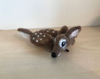 Handmade unique needle felted fawn